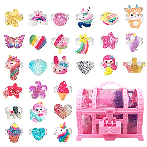 EleMirsa 27pcs Little Girl Jewel Rings Adjustable Costume Princess Pretend Play and Dress Up Rings...