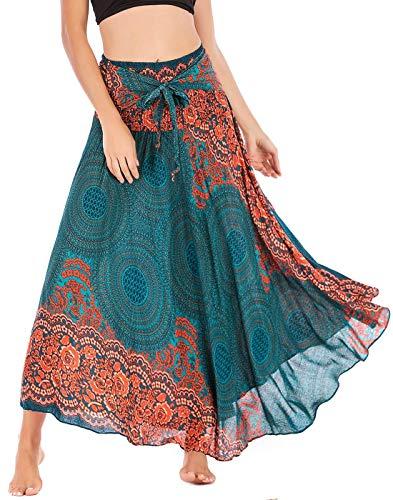FEOYA Maxi Falda Mujer Informal Boho 2 en 1 Falda Cintura Elástica Falda Playa Estilo Étnico A-Line Vestido Primavera Verano Vacaciones Enaguas Gitanas