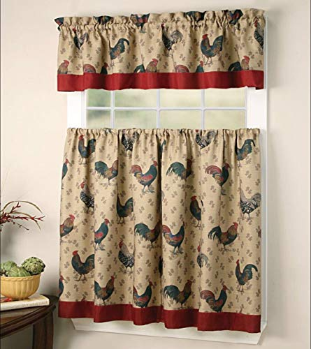 EHP 3 Piece Printed Kitchen Curtain Set, 1 Valance & 2 Tiers (Rooster)