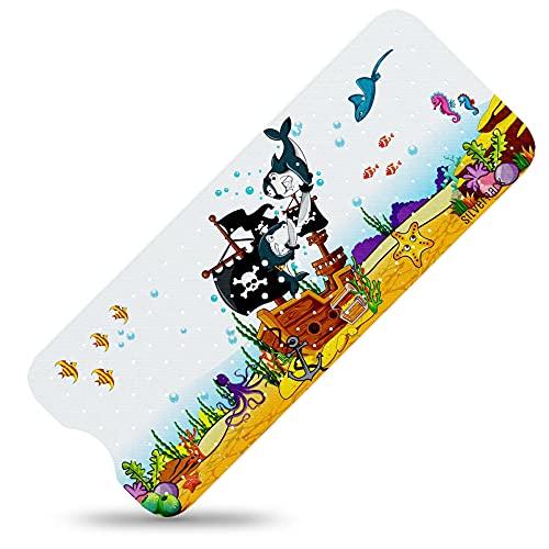 SilverRack Kinder Badewannenmatte DermaSensitivo Soft 100% BPA frei (Piraten - Links) - Badewanneneinlage rutschfest 100x40 cm für Kinder und Baby - Antirutschmatte für Badewanne