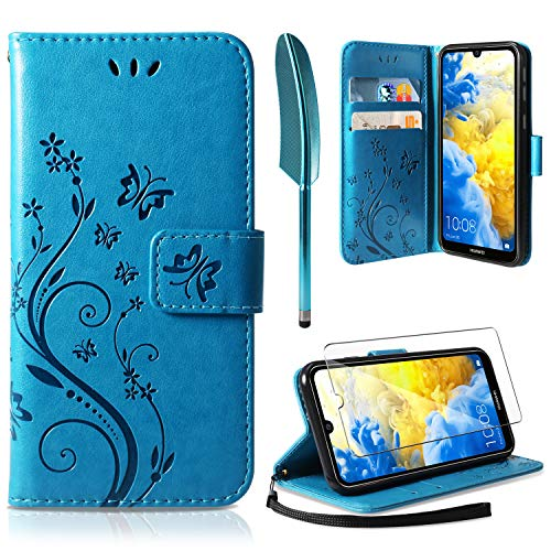 ivencase Coque Huawei Y5 2019, Retro Design PU Etui Housse en Cuir Portefeuille de Protection [Fonction Stand Video] [Porte Carte Credit Ticket] Flip Case pour Huawei Y5 2019 Bleu