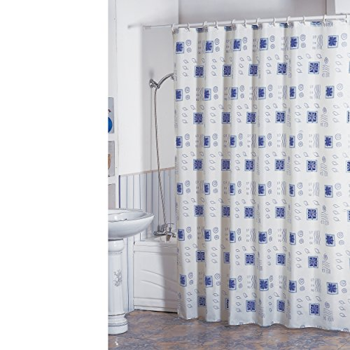 """MSV Anti-Schimmel Duschvorhang - Anti-Bakteriell, waschbar, wasserdicht, mit 12 Duschvorhangringen - Polyester, """"Weiß, Blau"""" 180x200cm"""