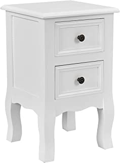 Giantex Nightstand Wooden Mini W/ 2 Storage Drawers for Living Room Bedroom Kid's Room Storage Accent Home Funiture End Table (1, White)