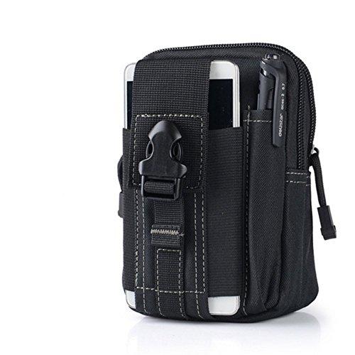 Tactical marsupio, Homeself molle Edc sacchetto tattico Compact Utility Pouch per outdoor trekking campeggio ciclismo con extra moschettone in alluminio, Black