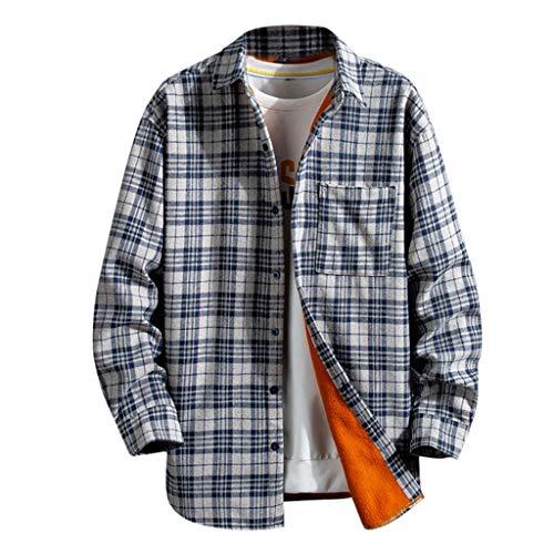 Pan Hui Mens Lapel Thicken Plaid Shirts Warm Sherpa Lined Fleece Jacket Button Down Fit Long Sleeve Casual Shirts Gray