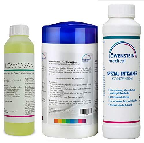 3er Set Löwosan CPAP Masken Maskenreiniger für Schlafmasken + Reinigungstücher neutral + spezial Entkalker für für CPAP Geräte aller Marken