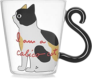 1CAwindwinevine Cute Kitty Glass Water Cup Cat Tail Handle Mug Milk Tea Coffee Fruit Juice Mug Drinkware Home Office Cup Lovers Gifts