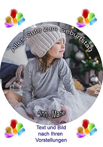 Essbares Foto für Torten, Tortenbild, Kindergeburtstag, Tortenaufleger mit eigenem Foto und Text frei gestalten - Super Qualität, 9538