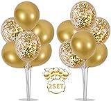 Support de Ballon 2 Set Support de Ballon Table Décoration Ballon Arbre de fête 16 ballons or pour diplômes mariage ête d'anniversaire