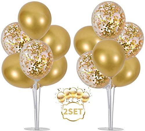BEISHIDA Ballon Ständer Kit Ballon Stick Halter Luftballons Halter Zubehör 16 Gold Konfetti Luftballons Tischballonständer Ballonbaum für Geburtstag Babyparty Hochzeit Party Korationen(2 Stück)