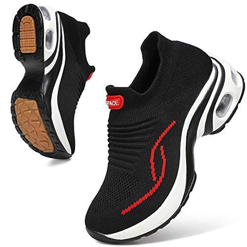 Sixspace Damen Sneaker Turnschuhe Atmungsaktiv Laufschuhe Leichtgewichts Walkingschuhe Sportschuhe Freizeitschuhe Straßenlaufschuhe Trainer für Outdoor Fitness Gym(Schwarz/Rot,42 EU)