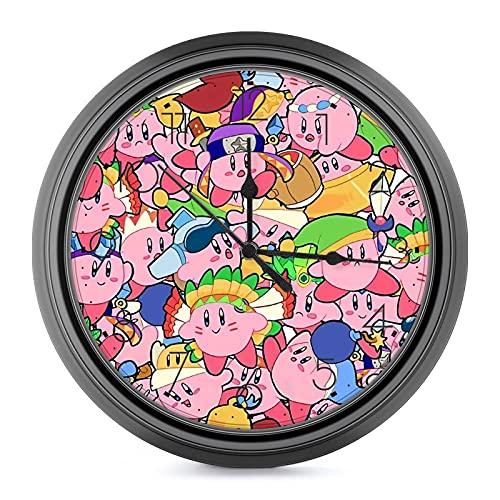 Game KIrby - Reloj de pared de estilo europeo silencioso que no hace tictac, fácil de leer, para sala de estar, oficina, aula, escuela, decoración de pared de 9,6 pulgadas