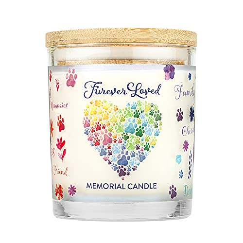 One Fur All - Pet Memorial Candle - Furever Loved Pet Eco-Friendly Natural Soy Wax Candle, Non-Toxic & Paraffin-Free Reusable Glass Jar Candle, Cat & Dog Memorial Candle, Up to 60 Hours Burn Time