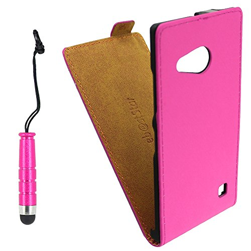 ebestStar - kompatibel mit Nokia Lumia 735 Hülle Lumia 730 dual PU Kunstleder Etui mit Klappe, Handyhülle Schutzhülle Hülle Cover + Mini Stift, Pink [Phone: 134.7 x 68.5 x 8.9mm, 4.7'']