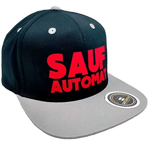 SAUFCOUNTER MARK YOUR DRINKS Original SAUFAUTOMAT (Saufi) Snapback in exklusiver Aufbewahrungsbox (Schwarz/Grau/Rot)