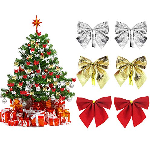 36 Pcs Moños Navideños Lazos para Arbol de Navidad Decoracion Arbol Navidad, Lazos Navideños para Puerta, Arcos de Navidad para Corona de Navidad, Boda, Fiesta, Regalo (Rojo Dorado Plata)