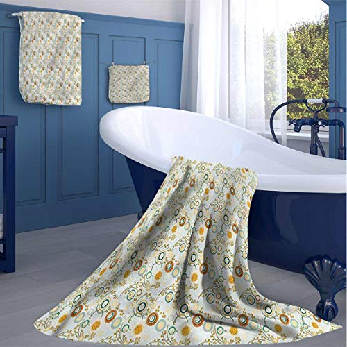 HOMEDECORATIONS Paint Large Bath Towel Circular Petals Swirly Stems Nice Plush Quality washcloths Best Gifts for her
