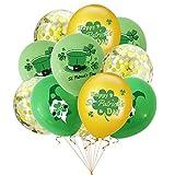 XYDZ 15pcs Ballons de La Saint-Patrick Ballons en Latex Ballons de Fête Ballons de Trèfle Confettis Ballons en Latex Faveurs de Fête Irlandaises Pour La Décoration