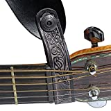Walker & Williams AT-2 Black Carving Leather Acoustic Guitar Strap Button Headstock Adaptor