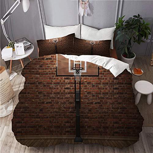 HUAYEXI Mikrofaser Bettbezug,Basketball alte Backsteinmauer und Basketballkorb Rim Indoor Training Exercising Stadium Picture,Microfaser Bettwäsche 240x260,2(50 * 80cm) Kissenbezug
