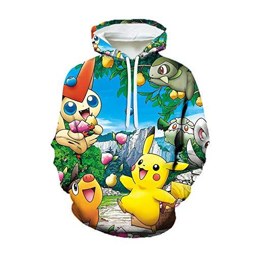 Pullover Hooded Sweats à Capuche Pikachu Hommes Femmes Impression 3D Anime Japonais T-Shirts Pokemon Enfants Pulls molletonnés décontractés Adolescents Uniformes de baseball-1101_S