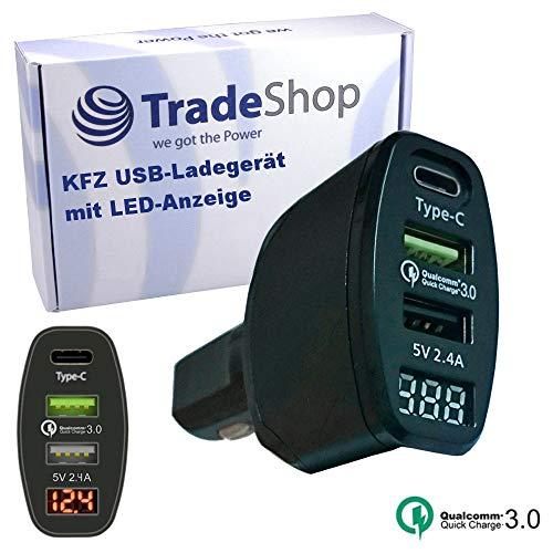 Trade-Shop KFZ-Ladegerät Netzteil Ladekabel LED Adapter 2.4A mit Schnellladefunktion für Sony Xperia XZ1 Compact BQ Aquaris X Pro Wileyfox Swift 2X