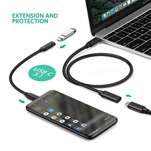UGREEN Typ C Verlängerungskabel 4K@60Hz USB C Verlängerung Kabel 60W USB 3.1 Gen 1 USB C Kabel kompatibel mit MacBook Pro 2020, MacBook Air 2020, Dell XPS13, Surface Go 2, Surface Book 3 usw. 0.5M