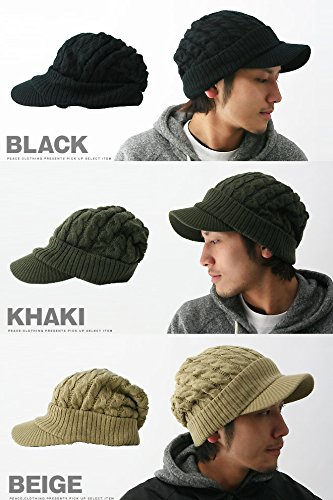『cielhat(シエルハット) ツバ付き細ケーブルニット帽子ジープ 男女兼用 メンズ レディース ブラック×グレー』の6枚目の画像