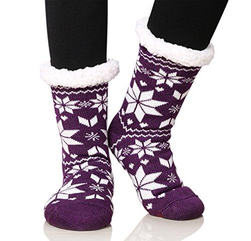 Dosoni Women's Fleece Lining Fuzzy Soft Warm Winter Christmas Slipper Socks Snowflake Purple