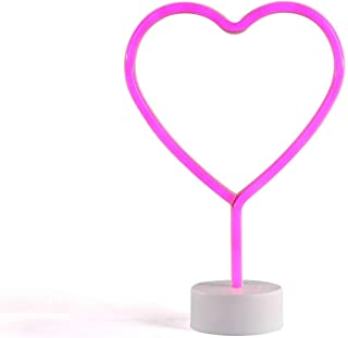 Lámpara de neón con forma de corazón, LED, color rosa, lámpara de mesa, lámpara decorativa (luz decorativa, neón, 29,5 cm, luz de fiesta)