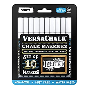 VersaChalk White Liquid Chalk Markers for Blackboards  10 Pack 3mm Fine Tip  - Erasable Washable Chalk Pens for Chalkboard Signs Windows Glass Events Schools Office Supplies and Business