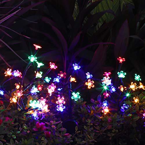 Outdoor Solar Lights, Solar Flower Lights with 20 Cherry Blossom,2 Pack Solar Fairy Lights Waterproof Multi-Color Solar Powered Garden Lights, Bigger Solar Panel for Pathway Patio Yard Christmas Decor