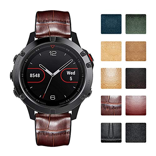 Bandas de reloj compatibles con Garmin Vívoactive 4S/3 Music/Forerunner 245 Music/645 Music,Vivomove 3/HR/Luxe Smartwatch Correas de reloj de cuero híbrido de silicona resistente al agua (18mm/20mm)