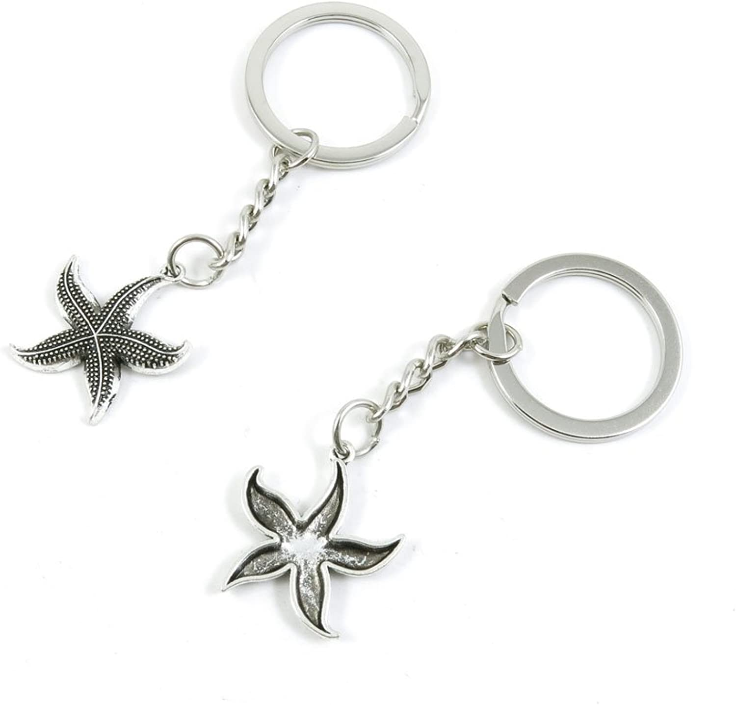 100 Pieces Keychain Keyring Door Car Key Chain Ring Tag Charms Bulk Supply Jewelry Making Clasp Findings M5QP9H Sea Star Starfish