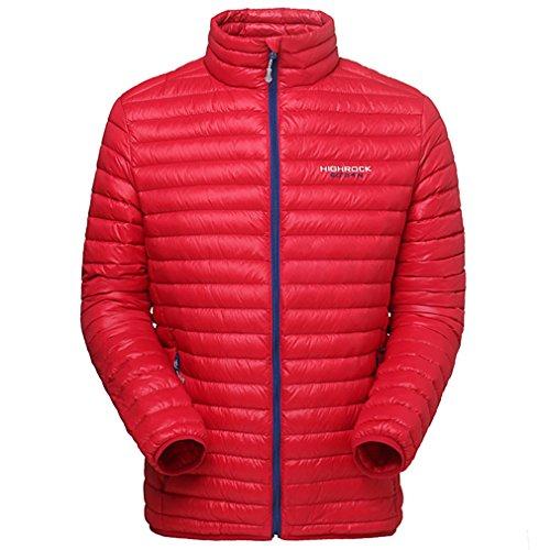 emansmoer Homme Puffer Packable Ultra léger Doudoune Veste vers Le Bas Hiver Outdoor Sport Veste de Camping Randonnée (Large, Rouge)