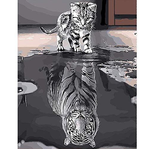 Pinte con Number Kit, Diy Pintura al óleo Dibujo Reflexión Lona colorida con cepillos Decoración Decoraciones Regalos - 16 * 20 pulgadas sin marco