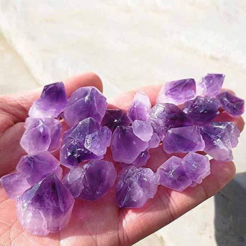QFERW Estatuilla 100g Amatista Natural Punto de Cuarzo esquelético Crystal Cluster Espécimen de curación Piedras Naturales Minerales Decoración de Escritorio para el hogar, Púrpura