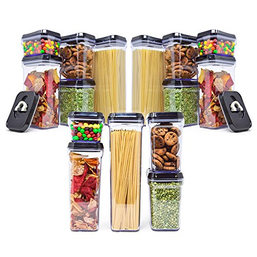 [15-Piece Set] Royal Air-Tight Food Storage Container Set - Durable Plastic - BPA Free - Slightly Tinted with Black Lids