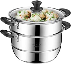 JLCK 304 Stainless Steel Steamer 30CM Soup Pot Three-layer Large Capacity Gas Stove Induction Cooker Universal, Silver (Co...