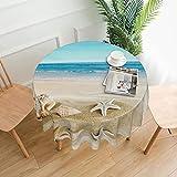 Seashells - Mantel redondo de poliéster con estampado de arena, resistente al agua, a prueba de derrames, para comedor y cocina de 60 pulgadas