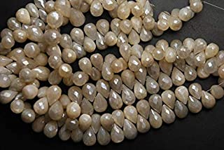 World Wide Gems 7'' Strand, Natural Moonstone, Mystic Cream White Pearls Moonstone Faceted Tear Drops 10-13mm