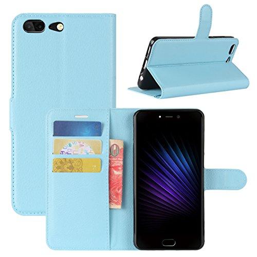 HualuBro Leagoo T5 Hülle, [All Aro& Schutz] Premium PU Leder Leather Wallet Handy Tasche Schutzhülle Hülle Flip Cover mit Karten Slot für Leagoo T5 Smartphone (Blau)