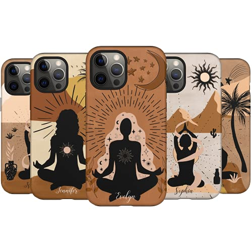 Artisticases Custom Mystic Yoga Girl Case, Personalized Name Case, Designed for iPhone 13 Pro Max, iPhone 12 Mini, iPhone 11 Pro Max, iPhone Xs Max, iPhone X, iPhone XR, iPhone 7/8 Plus
