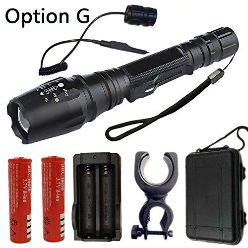 Option G, Chine, T6 : Z15 Lampe torche LED et éclairage portable Lampe de recherche Lanterne 5 modes Zoomable 4000 lm XML-T6/L2