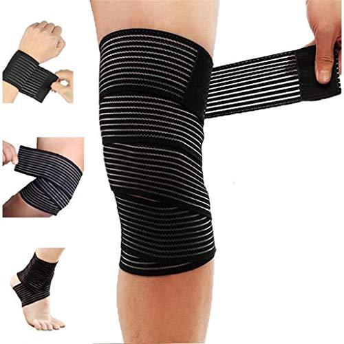 Ckssyao Fitness-Ausrüstung, Riemen, Kniepolster, Stretch Wrap, geeignet für Wandern, Laufen, Tennis, Fußball und andere Schutzausrüstung,Black