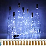 Wine Bottle Lights with Cork, LoveNite 15 Pack Battery Operated 10 LED Cork Shape Silver Wire Colorful Fairy Mini String Lights(No Bottles) for DIY, Party, Christmas, Wedding Decor (Cool White)