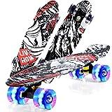 Skateboards for Teens Beginners,Skateboards 22 inch Complete Skateboard Deck Mini Cruiser for Kids Boys Girls Youths (Devil Fish)