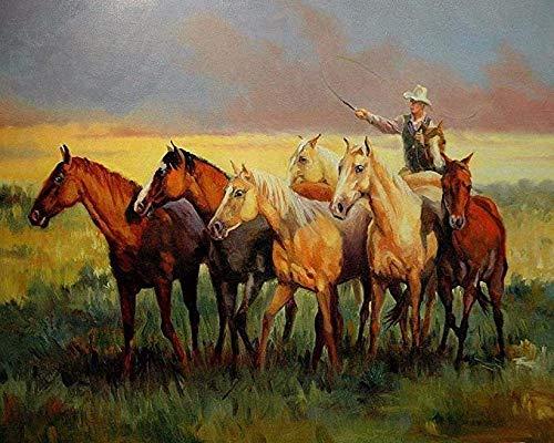 KELDOG® Puzzels Volwassenen Houten puzzel van 1000 stukjes - Cowboys Paarden Grasland Westers, Puzzelspel voor kinderen, Volwassen speelgoed, Uitdagende Moeilijke puzzel