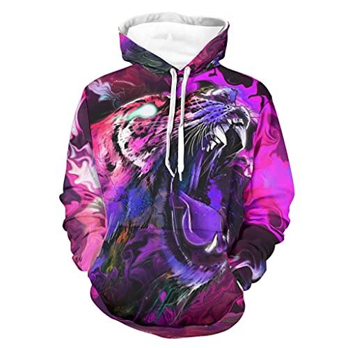 Niersensea Sudadera con capucha para adolescentes, diseño de tigre, multicolor, abstracto, impresión 3D, transpirable, con cordón, diseño transpirable, Unisex adulto, Blanco, xx-large