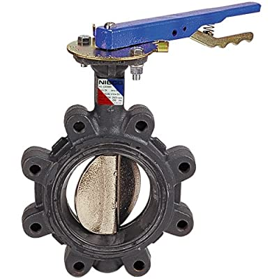 """NIBCO LD-3122-3 Series Ductile Iron Butterfly Valve with Buna-N Liner and Stainless Steel Disc, Lever-Lock Handle, Lug, 8"""" by NIBCO"""